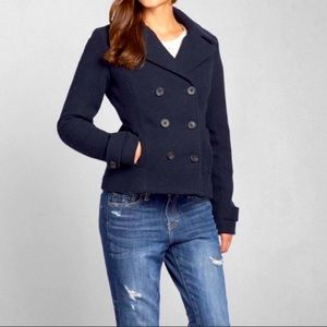 ABERCROMBIE & FITCH NAVY PEACOAT